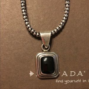 Silpada Jewelry - Silpada Black Sterling Pendant & Popcorn Necklace